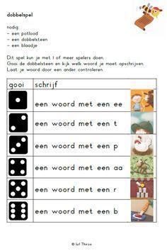 Dobbelspel, woorden schrijven     jufthirza.nl