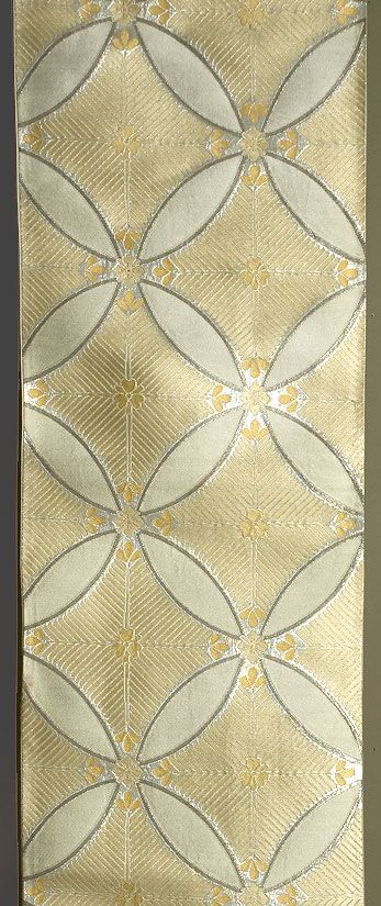 Japanese Fukuro Obi, 1940s. Silk with silver and pale yellow silk brocading