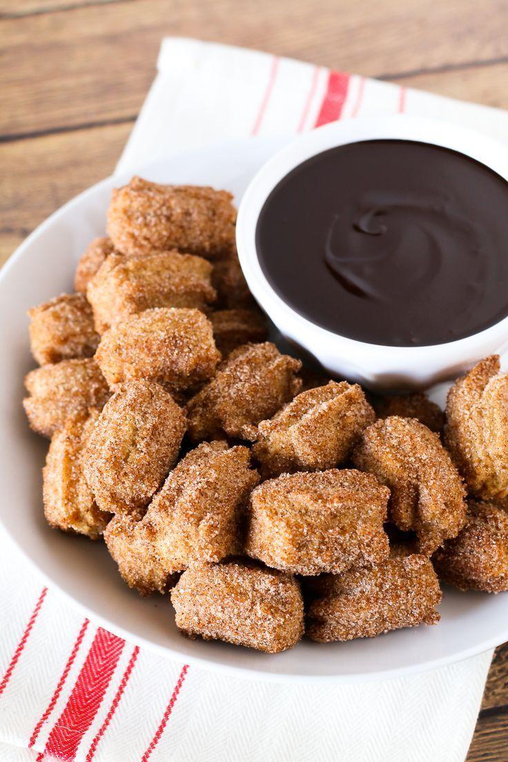 Gluten free vegan churro bites with chocolate sauce