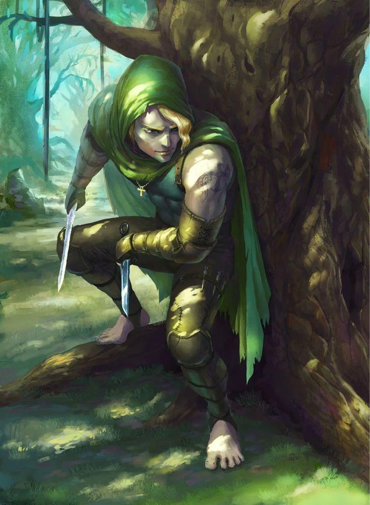 M Wood Elf Rogue Thief Leather Armor Cloak Daggers Tools