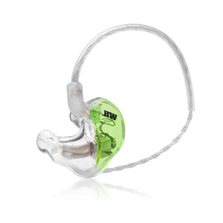 Green transparent custom in ear monitors from Hear wave
