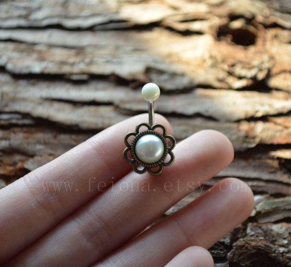 Goldene Blume Perle Bauchnabel Ring, Perle Bauchnabelpiercing, Freundschaft Bauch Ringe, Bauchnabelpiercing, Bauchschmuck   – Can I have it?
