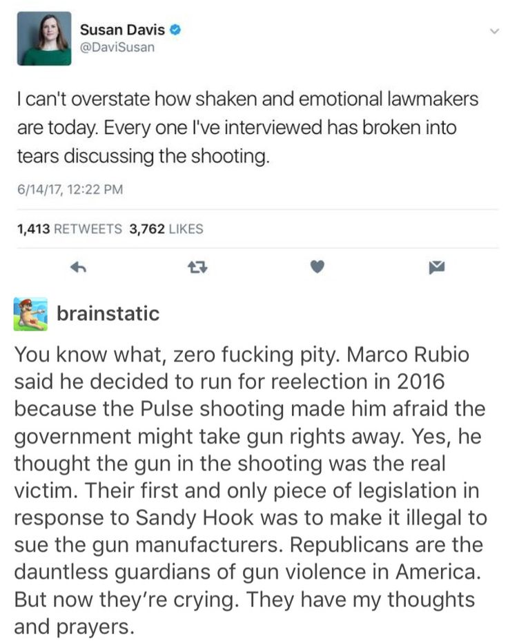 """I don't agree with the shooting attack against Republicans, but it really infuriates me all this """"when one of us is attacked, all of us are"""" mentality that's only surfacing NOW, and only for THEM. The rest of us are not included in that. Where was this """"one of us all of us"""" the past SEVERAL DOZEN school shootings? We have several a year. It should not take our own lawmakers being attacked themselves to understand how horrible and terrifying a shooting is and do something about it."""