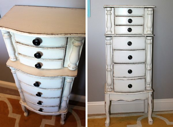 GORGEOUS DIY jewelry armoire makeover using chalk paint and wax. Easy to do, looks totally professional! #chalkpaint #diy #wax #refinishing