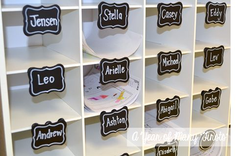 These are my students' mailboxes. I labeled them using cute little signs I found at Michaels. I believe they were 30 cents a piece. This idea was inspired by The Teacher Wife (see her post here). They are held up with two pieces of Velcro. Easy-peasy! I bought circular labels for the bottom two mailboxes, which will hold extra papers (in case students lose a paper, etc.).