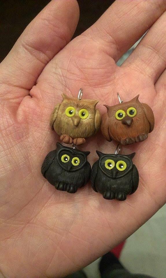 polymer clay owls https://www.facebook.com/ClayMiniGifts/