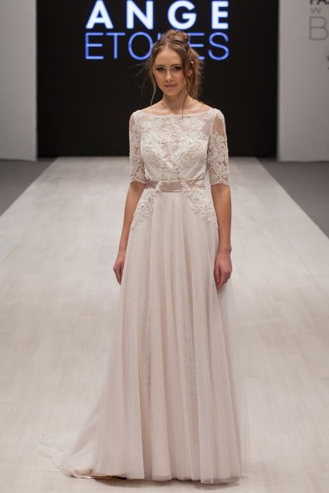 Simple, vintage, lace wedding dress 'Nadin' with lace sleeves  and chiffon skirt. Alter Ego collection from Ange Etoiles.