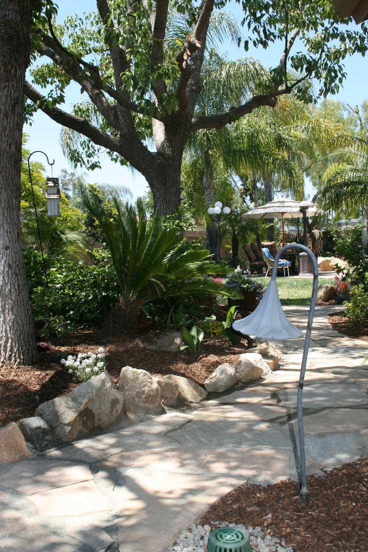 Casual decomposed granite walkway with flagstone steppers that invite you through this beautiful garden.