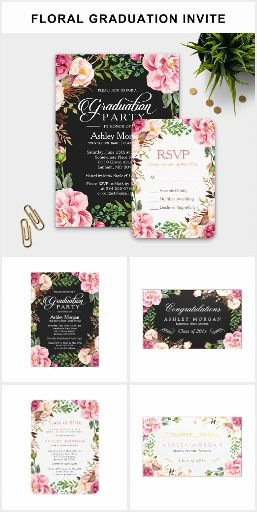 a romantic floral wrap graduation invitation suite with items from invitation to rsvp card - Graduation Invitations Pinterest