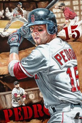 """Dustin Pedroia of the Boston Red Sox in   """"Determination"""" by Justyn Farano."""