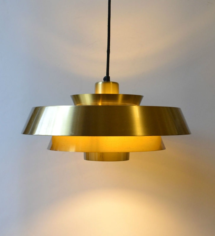 Mid Century Vintage Lights For Sale: Danish Modern Pendant Lamp/Light 60s Brass Nova UFO Retro