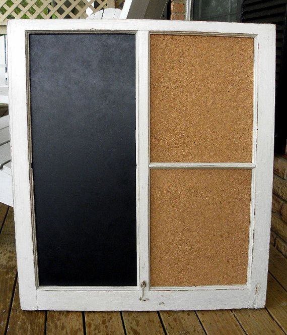 Shabby chic chalkboard/corkboard distressed white. Made out of an old  antique window.