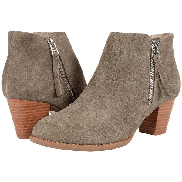 VIONIC Upright Sterling Ankle Boot (Greige) Women's Zip Boots ($160) ❤ liked