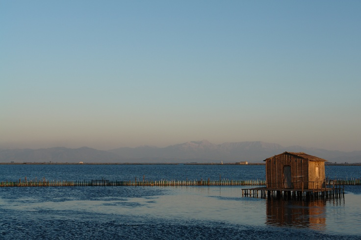 "Mesologgi Lake, fish-farm, fisherman's home ""pelada"" or ""pilada"" GREECE"