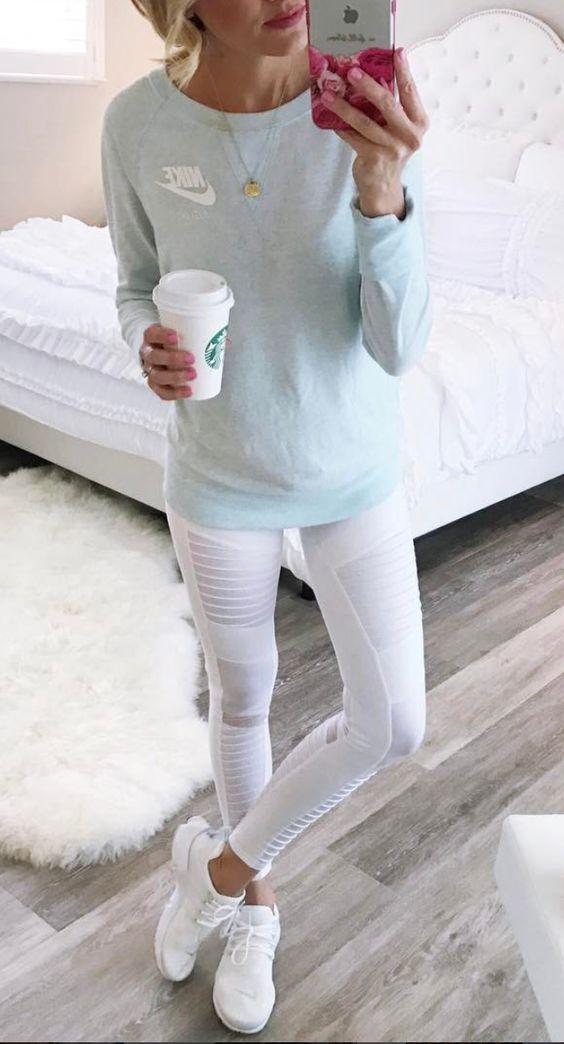 White moto leggings