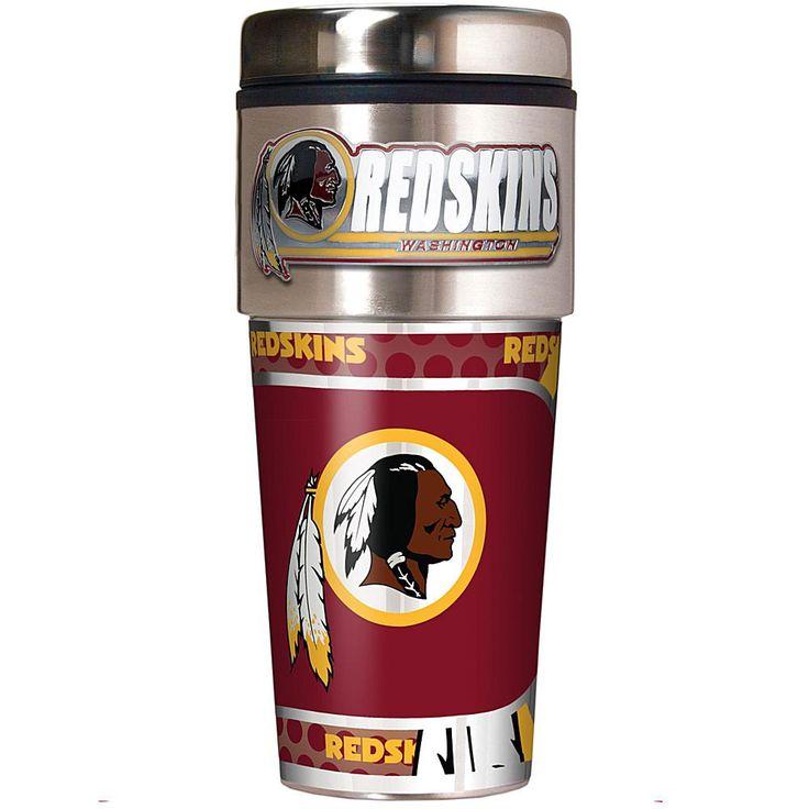 Football Fan Shop Washington Redskins Travel Tumbler w/ Metallic Graphics and Team Logo