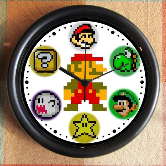 SUPER MARIO BROTHERS Mario Charactors 8 Bit 10 inch Resin Wall Clock Under 25.00   Custom Clocks too- any subject- Contact Me Geekery