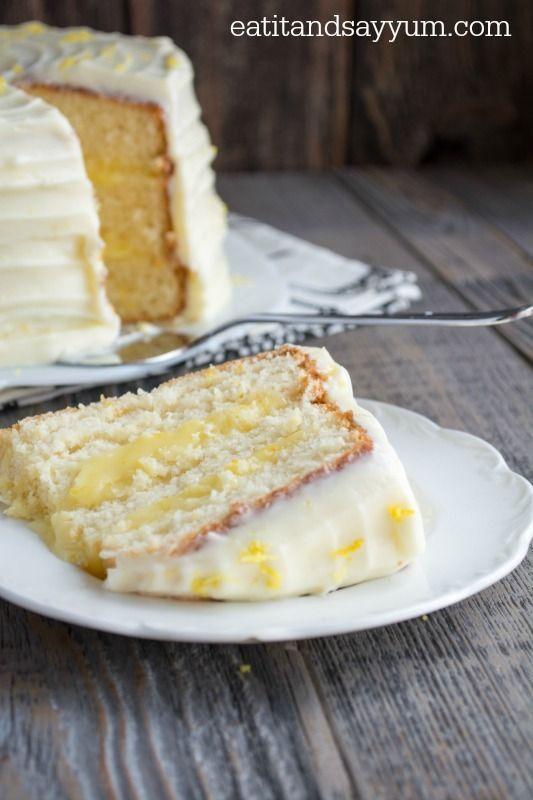 Lemon Chiffon Cake with lemon cream cheese frosting, from #eatitandsayyum, #dessert # recipe