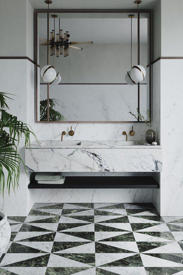 These Art Deco Tile Ideas Are Swanky With A Capital S Hunker In 2020 Art Deco Tiles Bathroom Interior Design Bathroom Design