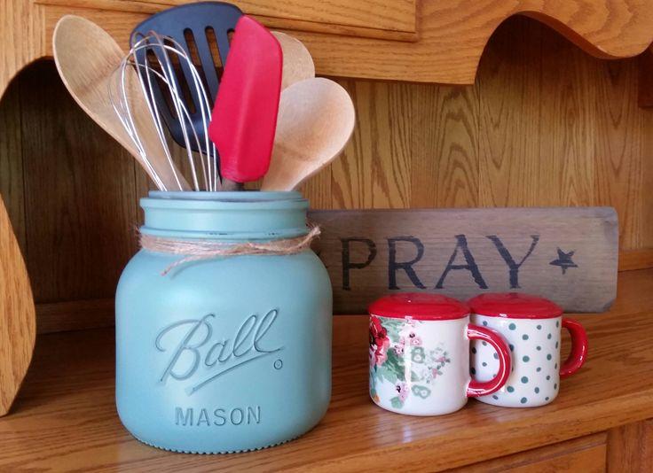 Half Gallon Mason Jar Kitchen Utensil Storage~Utensil Holder~Farmhouse~Country~Vintage~Primitive Rustic Design by SteeleCreekJrs on Etsy