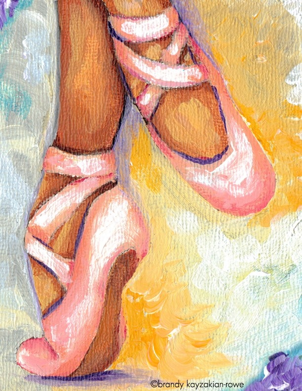 Pink Ballet Shoes art print ballerina by WanderingGypsySoul- I think this is closest to my current style, but I need to get movement down! Life is full of movement, how does paint capture that?