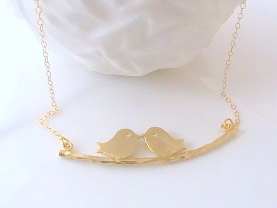 Bird On Branch Necklace Kissing Love Birds by Crystalshadow