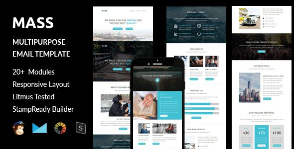 awesome MASS - Multipurpose Responsive E mail Template + Stampready Builder On the web Access (E mail Templates)