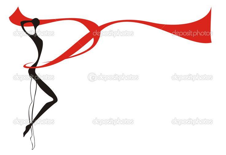 Силуэт молодая женщина и Красная лента - Векторная картинка: 11810871