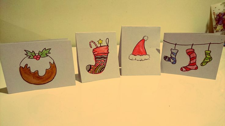 Quirky watercolour christmas card designs.