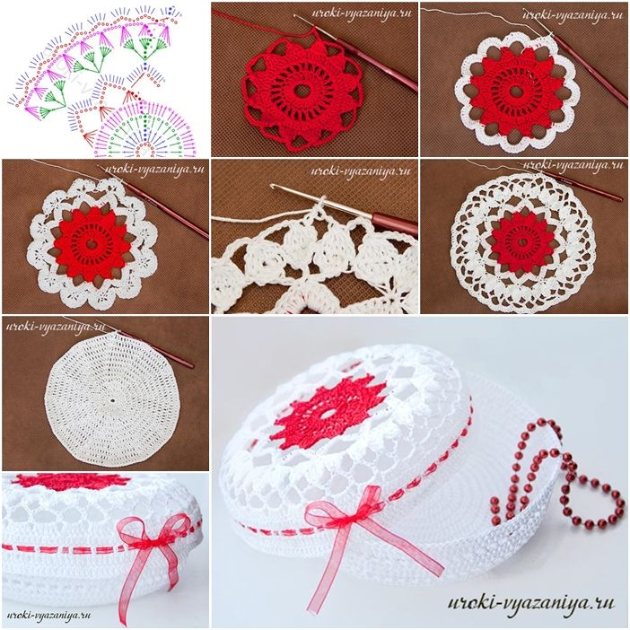 How to Crochet Special Lacey Floral Jewelry Box tutorial and instruction. Follow us: www.facebook.com/fabartdiy