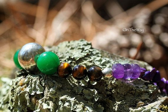 Green agate tiger eye amethyst necklace by LanguWorld on Etsy