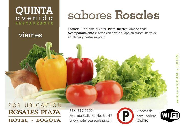 Nuestro menú de hoy está espectacular. #MenúSemanal www.hotelrosalesplaza.com
