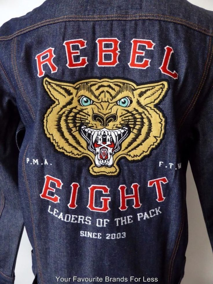 Rebel Eight Denim Jacket Long Sleeve Size L Cotton