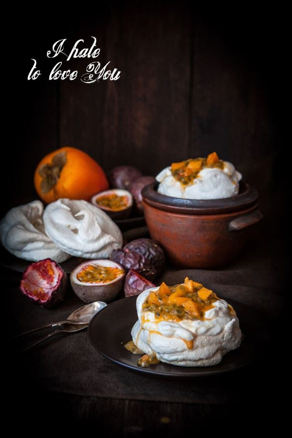 Passion fruit, Persimmon and Pepper Pavlova - I had a love/hate relationship with merengue