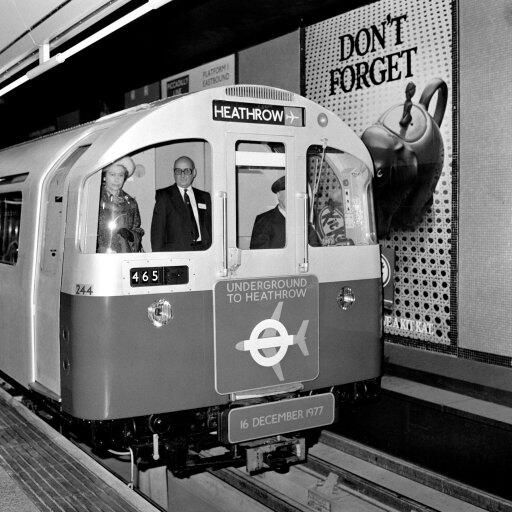 The Queen opens the Piccadilly Line extension linking Heathrow Airport with London Underground in 1977
