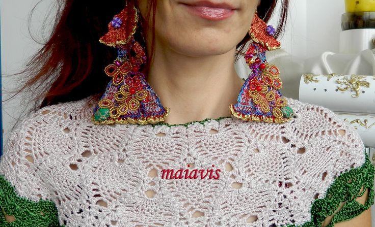 Earrings original, handmade, women fashion,crocheted