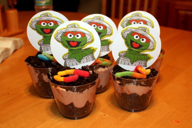 Oscar the Grouch Dirt Cakes with Slimey the worm