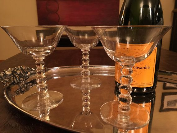 3 Vintage  Champagne Coupe Glasses  Set of Three by SalonDuThe