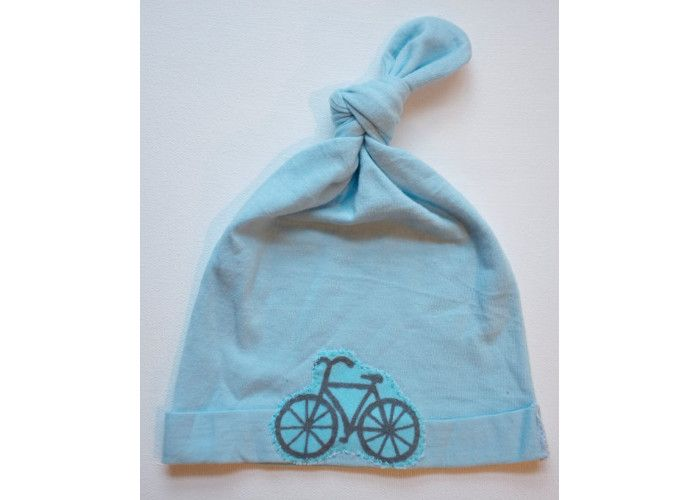 Jersey Top Knot Blue Baby Hat. Price: £5.56, available from Etsy.