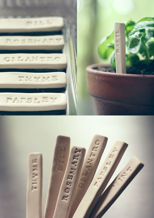 DIY - Garden Markers. Tip not mentioned in the article but to get even height throughout the clay then use 2  sticks on each side of the rolling pin to maintain rolling depth. See this Poppytalk blog post for a demo: http://poppytalk.blogspot.com/2010/01/artmind-tutorial-no-1-polymer-gift-tags.html