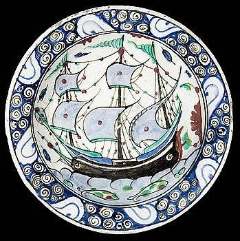 Sotheby's An Iznik polychrome pottery 'ship' dish, first half 17th c.