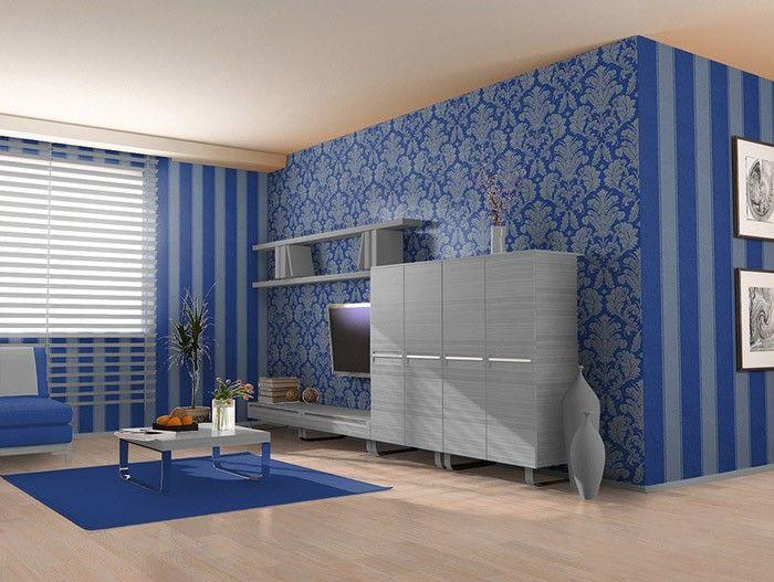 Strepen behang hoogwaardig EDEM 753-37 damasten vinylbehang met reliëfstructuur blauw platina goud