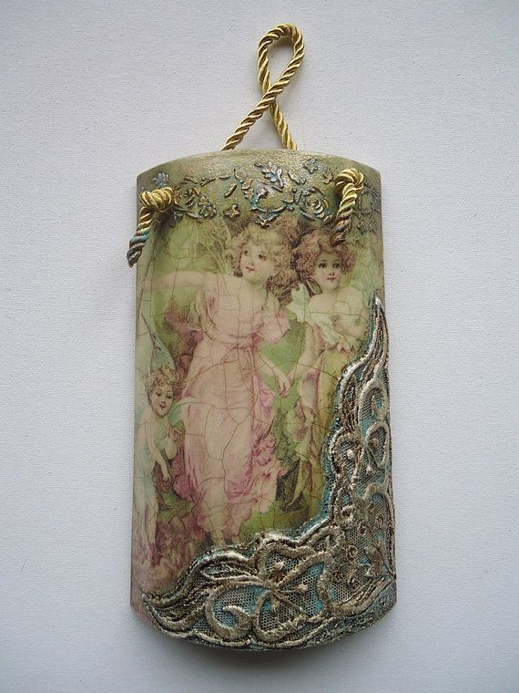 Appropriate gift for a girls room. This is a tale of fairies and a whiff of angelic wings. Handmade on a decorative tile. Decoupage technique.