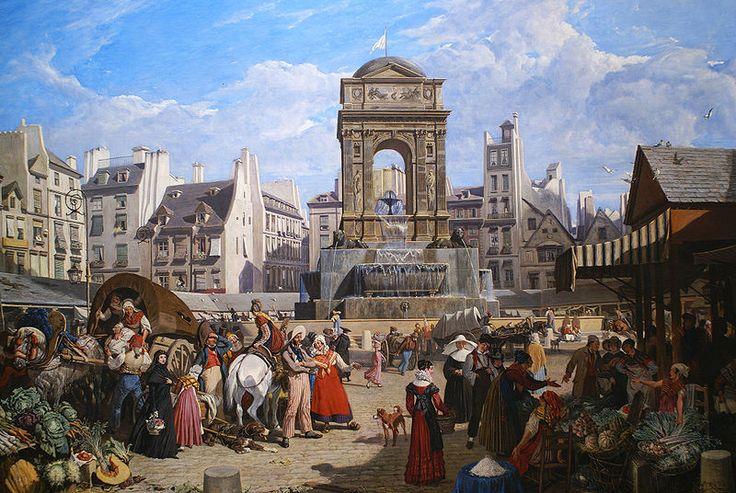 Le Marché et la Fontaine des Innocents (1822), John James Chalon (1778-1854), M… Marie-Louise Jansson