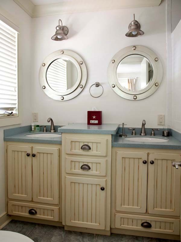 Love this look for the guest bath in the Florida house. Change faucets to Delta Cassidy channel. nautical bathroom cabinet - Bathroom Designs   Ideas   Vanities   Lighting   Remodel   Trends