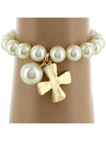 Goldtone Cross and Pearl Bead Bracelet