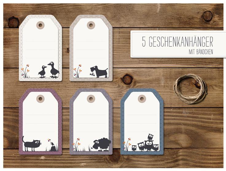 5 Geschenkanhänger mit Bändchen von cats on appletrees auf DaWanda.com