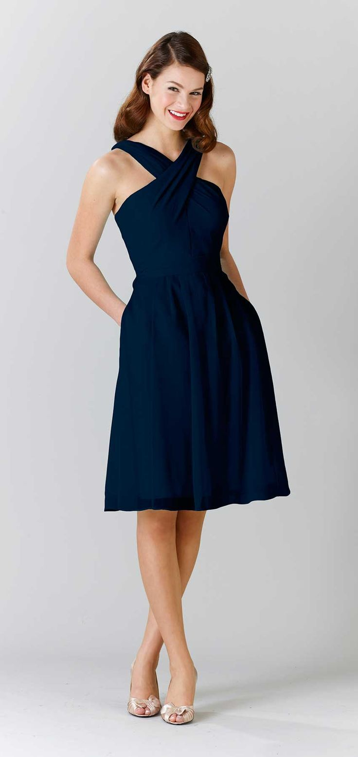 952 best bridesmaid style images on pinterest chiffon bridesmaid a unique navy blue bridesmaid dress with straps kennedy blue bridesmaid gown audrey ombrellifo Images