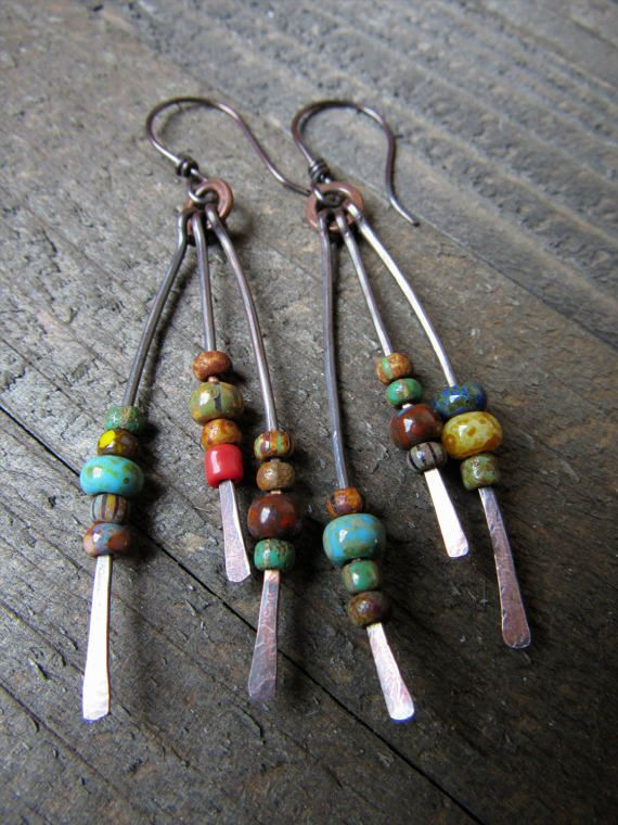Hammered Copper Beaded Fringe Dangle Earrings - BOHO, Hippie, Gypsy Style, Trendy, Rustic Jewelry