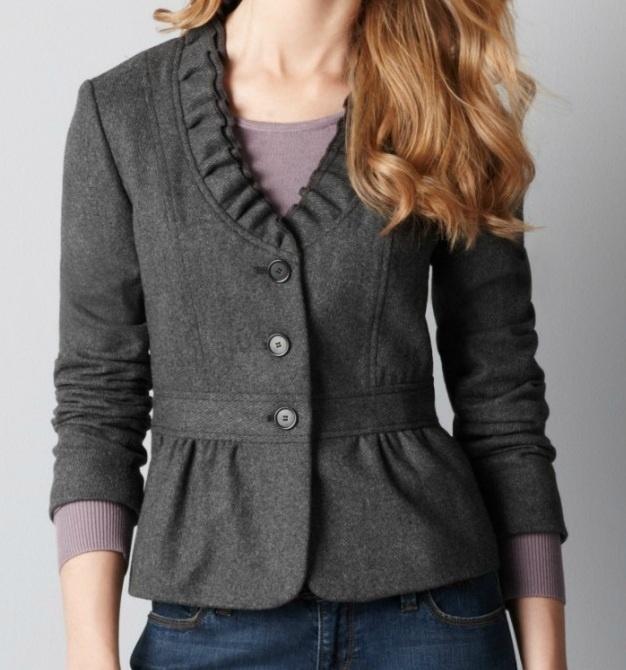 Ann Taylor Loft Ruffle Collar Blazer Style Inspiration